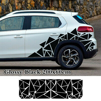 1Pcs Car Body Side Geometric Triangle Graphics Freestanding Sticker Glossy Black