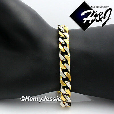 "8.5""MEN's Stainless Steel HEAVY WIDE 9x4mm Gold/Silver Cuban Curb Chain Bracelet"