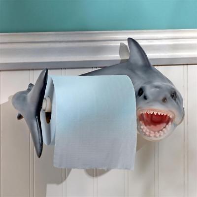 Jaws Great White Shark Ocean Wall Mounted Bathroom Toilet Tissue Paper Holder