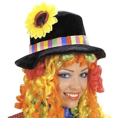BUNTE CLOWN PERÜCKE & HUT Karneval Zirkus Clownsperücke lang Harlekin Damen 0673