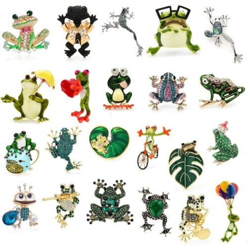 Enamel Crystal Frog Brooches Animal Party Pins Women