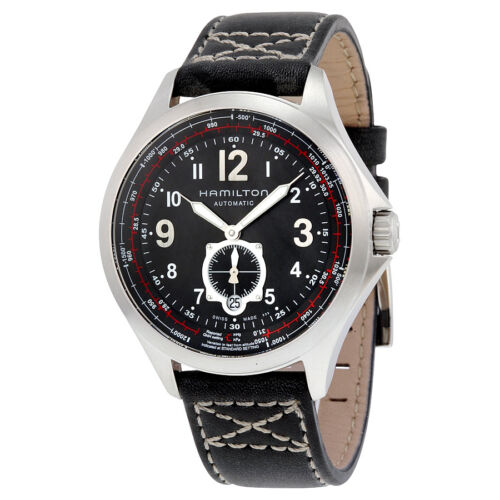 Hamilton Khaki Aviation Automatic Black Dial Black Leather Mens Watch H76655733