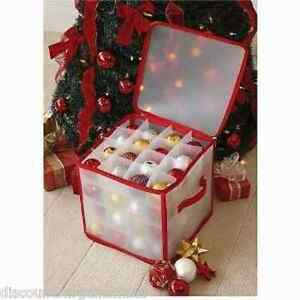 New Christmas Tree Bauble/Decorations Storage Box Holds 64 Baubles Zip Fastening