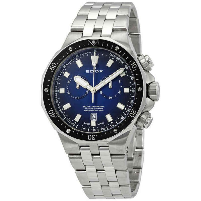 Edox Delfin Chronograph Blue Dial Men Watch 10109 3M BUIN