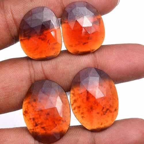 2 Pair/73 Cts Natural Hessonite Garnet Top Quality Loose Checker Cut Gemstones