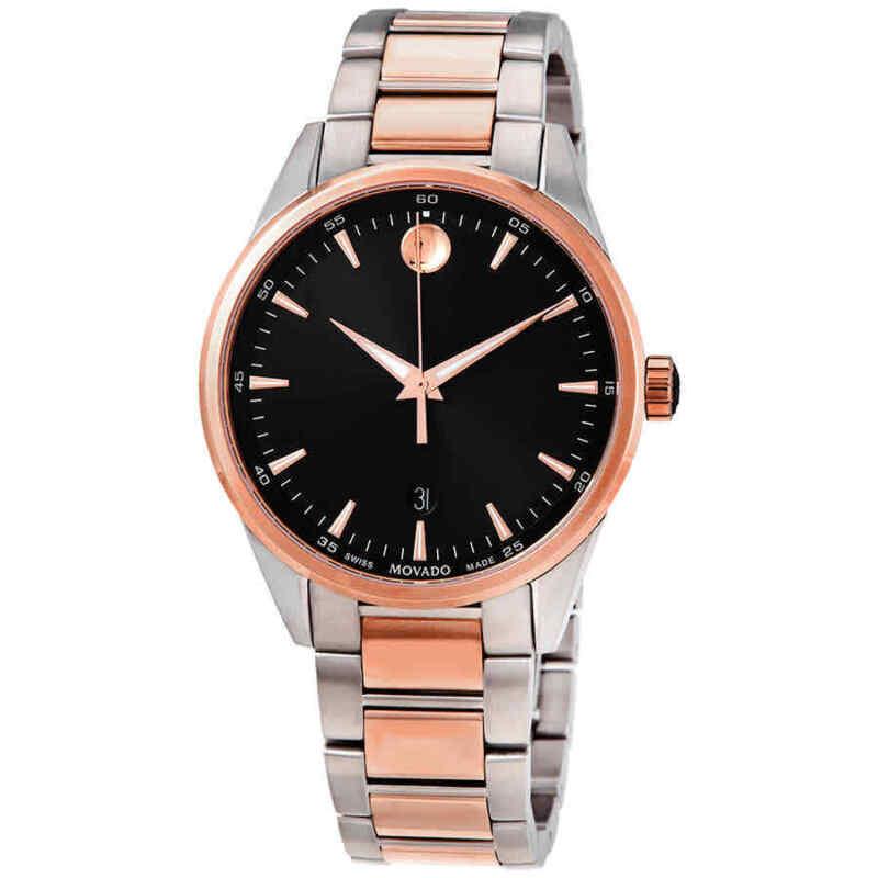 Movado-Quartz-Black-Dial-Two-tone-Men-Watch-0607359