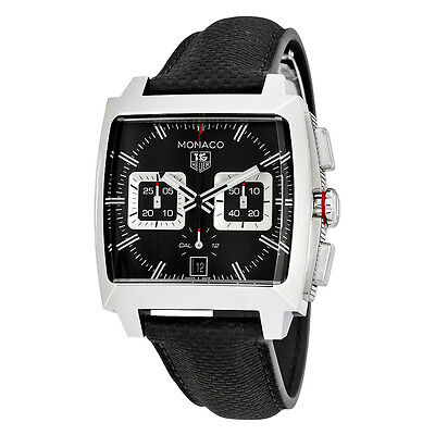 Tag Heuer Monaco Automatic Chronograph Black Opalin Dial Black Leather Mens