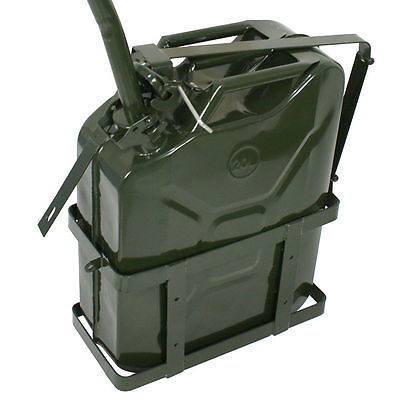 Jerry Can with Holder 20L Liter 5 Gallons - Steel Tank Fuel Gasoline Green