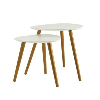 Convenience Concepts Oslo Nesting End Tables, White/Natural - 203542