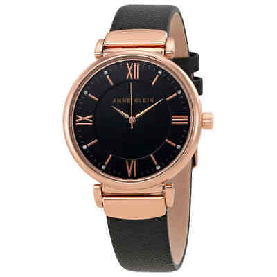Anne Klein Black Dial Black Leather Ladies Watch 2666RGBK