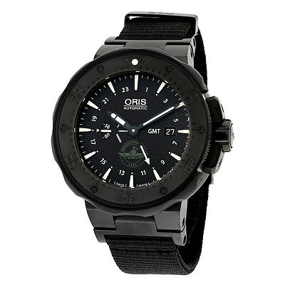 Oris Pro Diver Force Recon GMT Black Dial Black Rubber Mens Watch