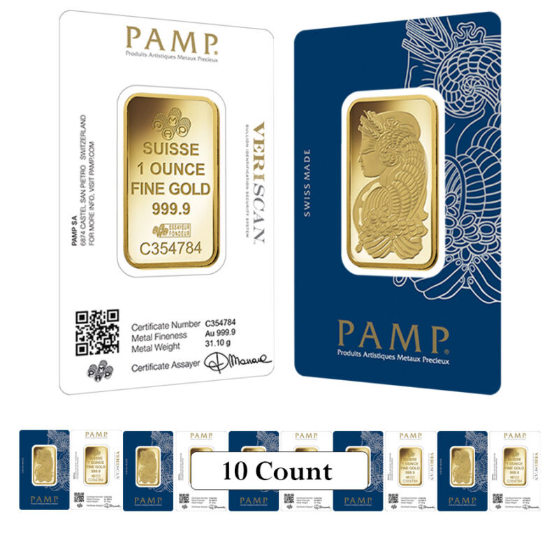 Lot Of 10 - 1 Oz Gold Bar Pamp Suisse Lady Fortuna Veriscan .9999 Fine (in