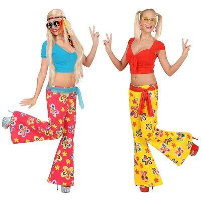 70er JAHRE BLUMEN SCHLAGHOSE # Damen Hippie Flower - Kostüm Blume