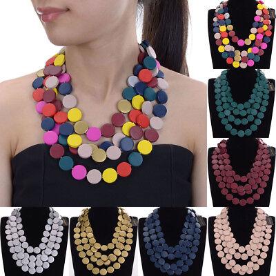 Fashion Bohemian Jewelry Chain Wood Beads Collar Cluster Pendant Bib Necklace