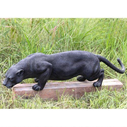 STALKING AFRICAN BLACK PANTHER LEOPARD OUTDOOR STATUE Jungle Predator Sculpture