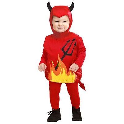 KINDER TEUFEL KOSTÜM & MÜTZE Halloween Kleinkinder Satan Teufel 80/86/92/98 1897