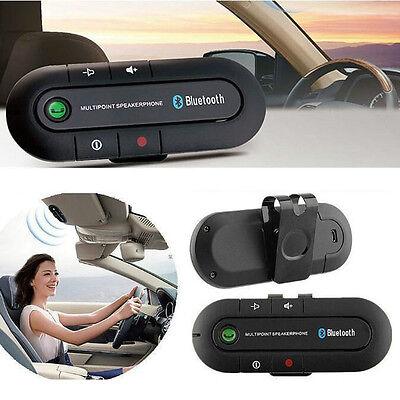 Wireless Multipoint Bluetooth Hands Free Car Kit Speakerphone Speaker Visor Clip