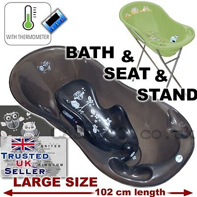 Baby Bathtub Stand - SET LARGE Lux 102cm length Baby Bath Tub with STAND + seat &THERMOMETHER