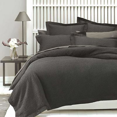 BRAND NEW Linen House Deluxe Waffle Charcoal King Quilt Duve