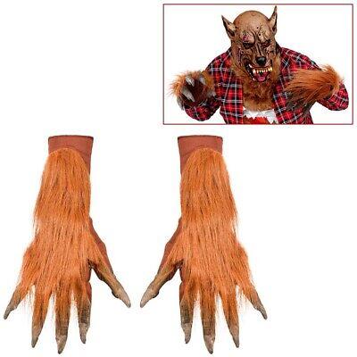BRAUNE WERWOLF HÄNDE / HANDSCHUHE Halloween Karneval Monster Wolf Kostüm Party