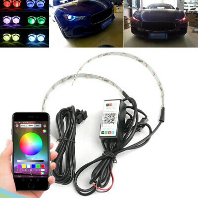 RGB Auto LED Bunte Scheinwerfer Linse Dekoration Streifen Bluetooth APP 12V 2x
