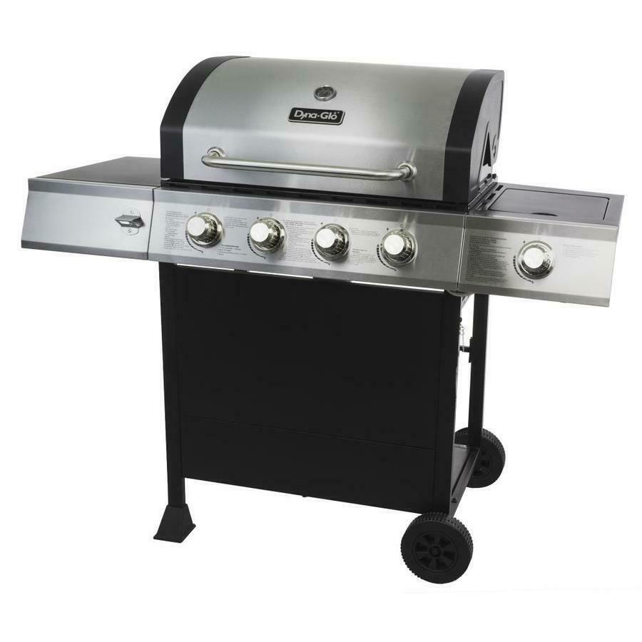 Gas Grill Stainless Steel Black 4 Burner Liquid Propane Outd