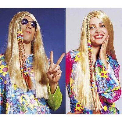 BLONDE HIPPIEPERÜCKE # 70er Jahre Hippie Damen Herren Perücke Kostüm Party 6202