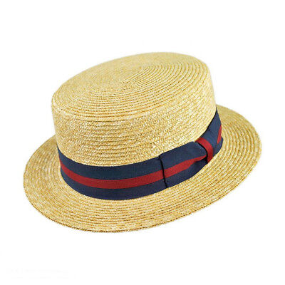 Jaxon Hats Striped Band Wheat Straw Skimmer - Skimmer Straw Hat