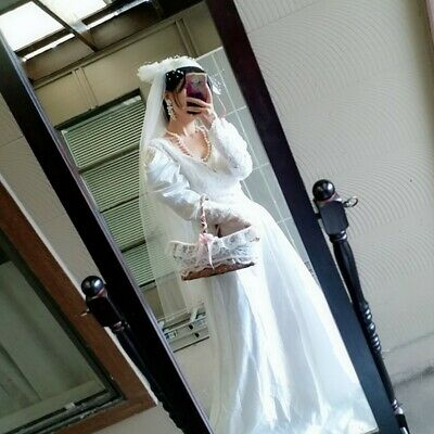 Vintage 90s Wedding Dress M Sheer Floral Lace Beads sequin White Gown