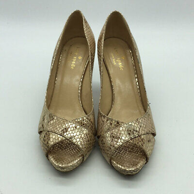 Kate Spade Gold Embossed Peep Toe Pumps Size 6B Embossed Peep Toe Pumps