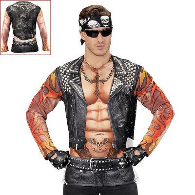 BEDRUCKTES LANGARM BIKER SHIRT # Karneval Rocker Punker - Rocker Kostüm