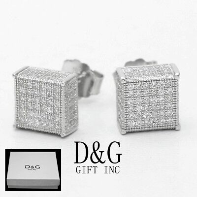 DG Men's Sterling Silver 925.Iced-Out CZ 6mm Studs Square*Earring Unisex--Box