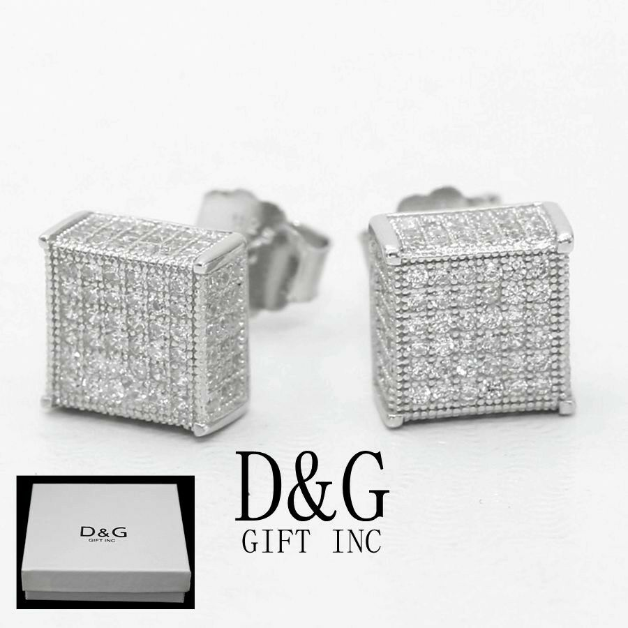 DG Mens Sterling Silver 925.Black CZ 6mm Square Studs.Pairs Earring*Unisex*Box