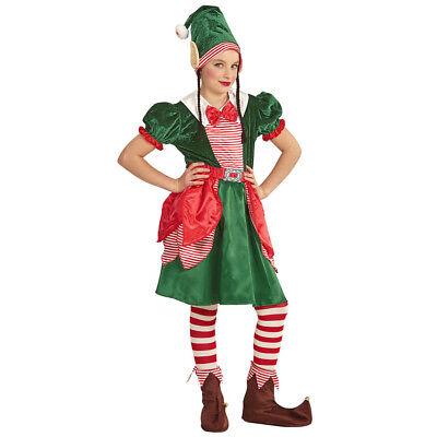 WEIHNACHTEN ELF KOSTÜM MÄDCHEN Weihnachtsmann Santas Helferin Kleid Kinder  0878 (Weihnachten Elf Kostüm Kinder)