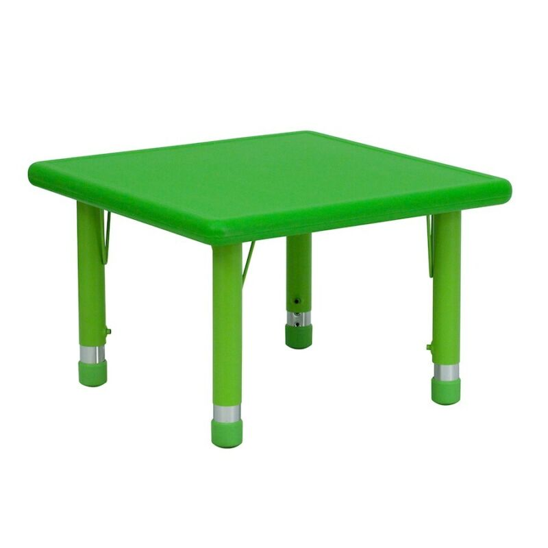 """Flash 24"""" Square Height Adjustable Green Plastic Activity Table"""