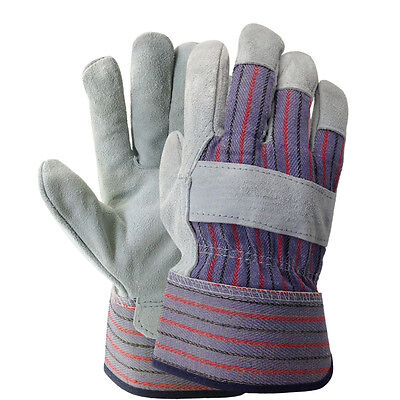 Double Palm Split Leather Work Glove Gray Available In Large And X-large Size