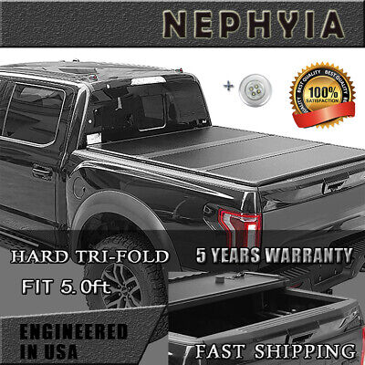 Hard Tri-Fold Nissan Tonneau Cover For 2005-2019 Frontier 5.0 Ft Truck bed FRP