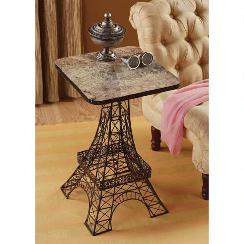 """Parisian Eiffel Tower Replica City of Light Metal Map Top Accent Side Table 26"""""""