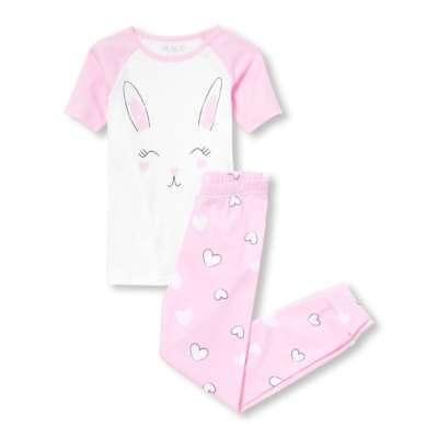 NWT The Childrens Place Easter Bunny Rabbit Girls Short Sleeve Pink Pajamas Set (Bunny Pajamas)