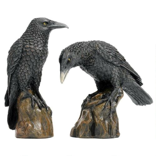 Mystical Set of 2 Gothic Raven Statue Black Bird Sculptures
