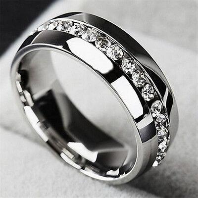 Ring - Sz5-13 Men/Women CZ Couple Stainless Steel Wedding Ring Titanium Engagement Band