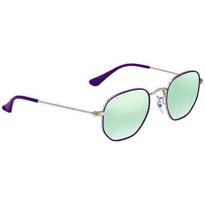 Ray Ban Hexagonal Dark Green Silver Mirror Round Sunglasses RB9541SN (Dark Green Sunglasses)