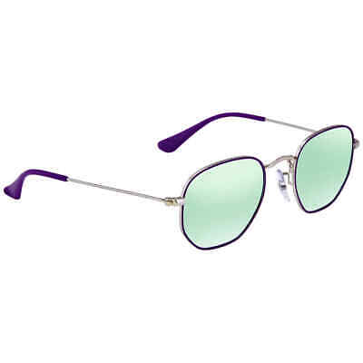Ray Ban Hexagonal Dark Green Silver Mirror Round Sunglasses RB9541SN (Mirror Green)