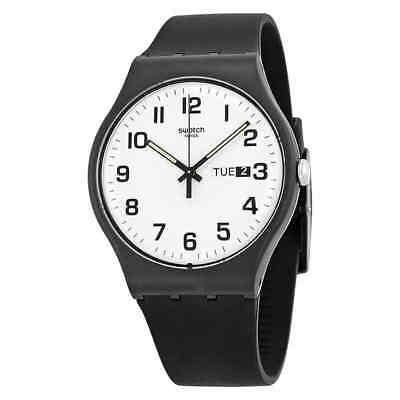 Unisex White Plastic Watch - Swatch Originals Twice Again White Dial Black Silicone Unisex Watch SUOB705