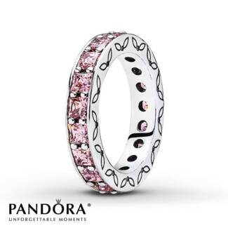 PANDORA * Silver Eternity Pink Princess Cut CZ Ring * Size 54
