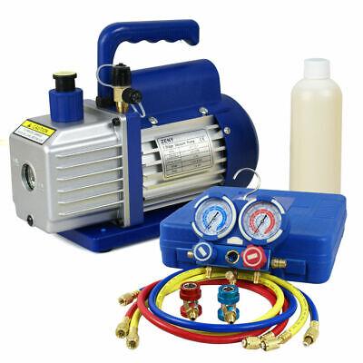 1/4hp 3,5CFM Air Vacuum Pump HVAC Refrigeration AC Manifold Gauge Set R134a Kit