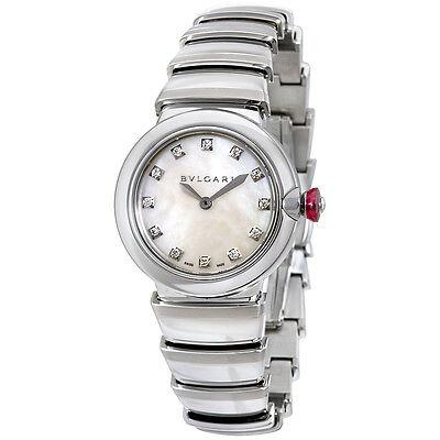 Bvlgari LVCEA White Mother of Pearl Diamond Dial Ladies Watch 102196