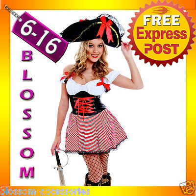 G15 Ladies Caribbean Pirate Wench Outfit Fancy Dress Halloween Party Costume&Hat Pirate Wench Outfit
