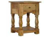 NEW Country Style 1 Drawer Bedside Table with Shelf, Retro Design, Handmade using 100% Mango Wood