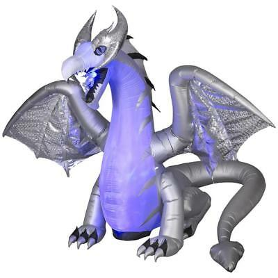 11.5ft White Winter DRAGON Animated Wings Halloween Inflatable FIRE & ICE Effect - Halloween Inflatables Dragon